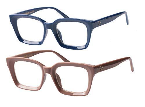 SOOLALA 2-Pair Vintage Stylish 53mm Lens Oversized Reading Glass Big Eyeglass Frame, BlueCoffee, ()