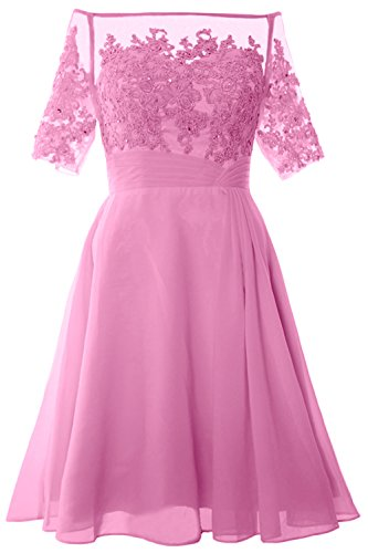 MACloth Women Off Shoulder Mother of Bride Dress with Sleeve Midi Cocktail Dress Rosa