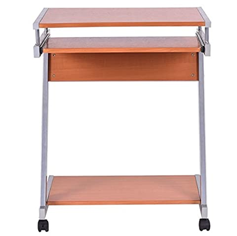 Rolling Computer Desk With 4 Wheels Free Standing Portable Desk Laptop Notebook Table Work Station Home Office Furniture Bottom Keyboard Shelf