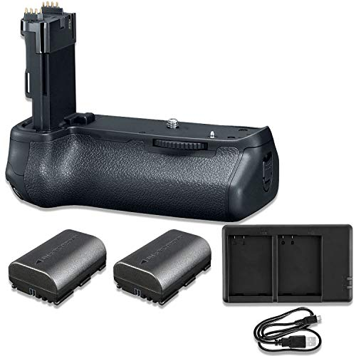 Pro Camera Battery Grip Replacement BG-E21 for Canon EOS 6d Mark II DSLR with Replacement Batteries & Dual USB Charger