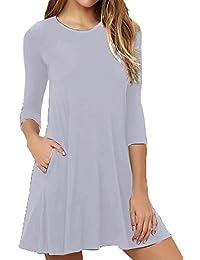 Women's 3/4 Sleeves Pockets Casual Plain T-Shirt Loose...