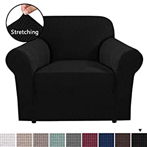 H.VERSAILTEX 1 Piece Couch Cover Stretch Stylish Furniture Cover/Protector Featuring Jacquqard Textured Twill Fabric, High Spandex Lycra Slipcover Machine Washable/Skid Resistance (Chair, Black)