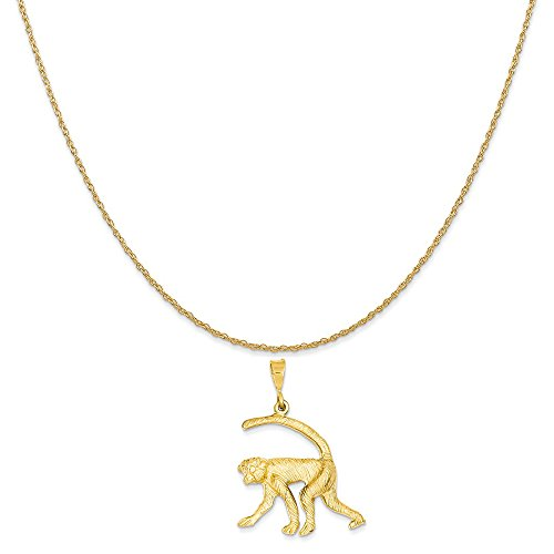 14k Yellow Gold Monkey Charm on a 14K Yellow Gold Rope Chain Necklace, 16