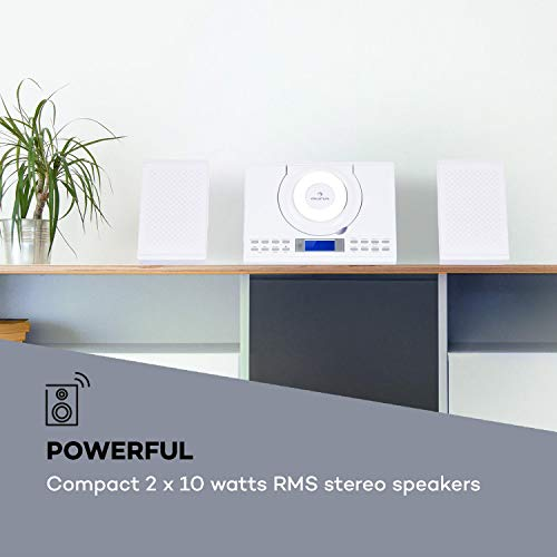 auna Wallie Microsystem • Stereo System • 2 x 10 Watts RMS Stereo Speakers • Front-Loading CD Player • FM Tuner • Bluetooth • USB Port • LCD Display • Incl. Remote Control • White by auna (Image #5)