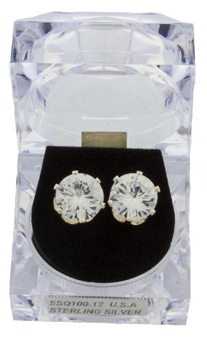 Silvertone 11mm Four Prong Round Cubic Zirconia Stud Earrings (12 Millimeters) (I-1221)