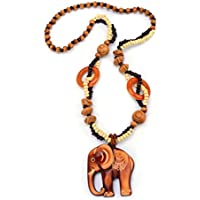 OrliverHL Brown Bohemian National Wind Retro Wood Sweater Chain Ornaments Wooden Animal Elephant Pendant
