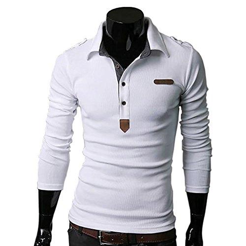 SHEYA ポロシャツ メンズ Tシャツ カットソー 長袖 ロンT エポレット ゴルフウェア トップス カジュアル コーデ 春 秋 メンズ ファッション 黑