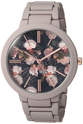 - Nine West Women's NW/2096BKGY Matte Mauve Rubberized Bracelet Watch