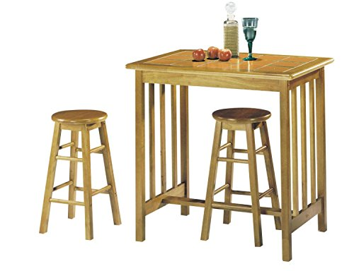 Major-Q 3Pc Pack Farmhouse Style Wood Frame Space Saving Design Oak Finish Counter Height Dining Set with 1 Terracotta Tile Top Table and 2 Bar Stools Included (9002140OT) (Mission Oak Dining Room Bar Stool)
