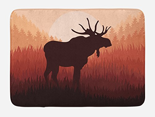 """Ambesonne Moose Bath Mat, Antlers in Wild Alaska Forest Rusty Abstract Landscape Design Deer Theme Woods, Plush Bathroom Decor Mat with Non Slip Backing, 29.5"""" X 17.5"""", Peach Brown"""