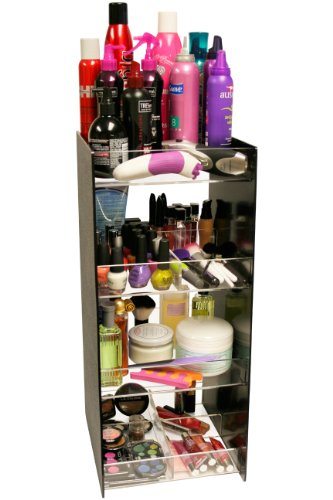 Cosmetic Organizer Tower 24'' Tall. Has 4, 10'' Wide Crystal Clear Acrylic Shelves. A Makeup Diva Dream Come True! Great for Salon Professionals. Proudly Made in the USA ! by PPM. by Plastic & Products Marketing PPM