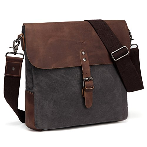 Small Messenger Bag,Vaschy Vintage Genuine Leather Waxed Canvas Mens Classic Flap Crossbody Shoulder Bag Gray for Ipad