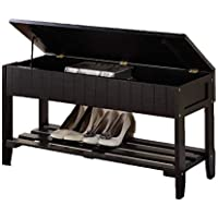 Legacy Decor Black Solid Wood Shoe Storage Bench with Rack