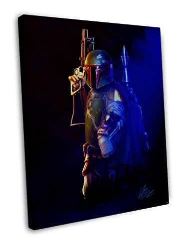 BOBA FETT Bounty Hunter Star Wars Movie Painting Awesome Art Artwork By Richard Williams 16x12 inches (40x30 cm) Framed Canvas Print