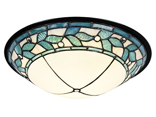 Flush Mount Bronze Green (Springdale TH15477LED Dome LED Tiffany Flush Mount, Tiffany Bronze)