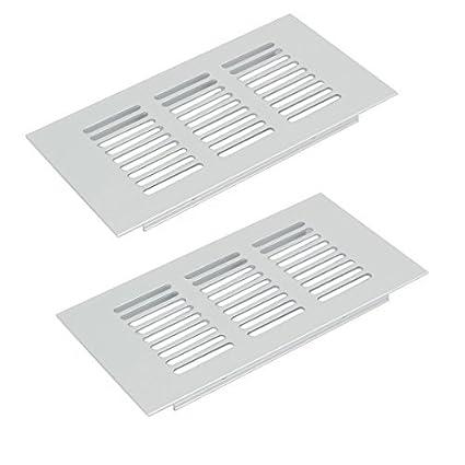eDealMax 150mmx80mm 2pcs aleación de aluminio Rejilla de ventilación de aire de ventilación tipo persiana cubierta