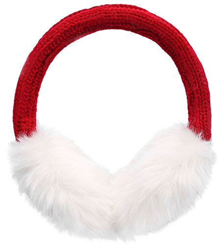 Simplicity Women's Knitted Faux Fur Plush Winter Earmuffs, Bright Red]()