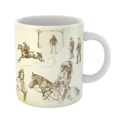 Emvency Coffee Tea Mug Gift 11 Ounces Funny Ceramic Indian Wild West Cowboy American Horse Gifts For Family Friends Coworkers Boss Mug ()