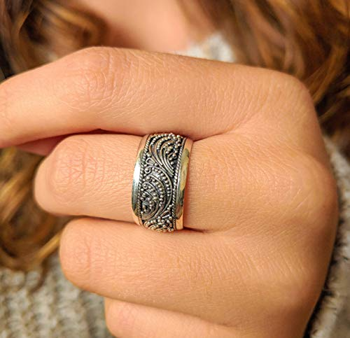 Sterling Silver Boho Bali Ring, Sizes 6-10 US, Filigree Wedding Band