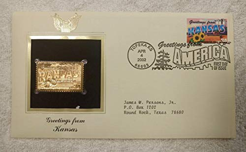 Greetings from Kansas - FDC & 22kt Gold Replica Stamp plus Info Card - Greetings from America Series (Postcard Theme) - Postal Commemorative Society, 2002 - Combine in a Wheat Field, Agriculture, Grain Elevator, the Sunflower