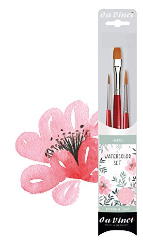 da Vinci Watercolor Series 5389 CosmoTop Spin Lettering & Flower Brush Set, Synthetic, 3 Brushes (Series 5580, 5880)