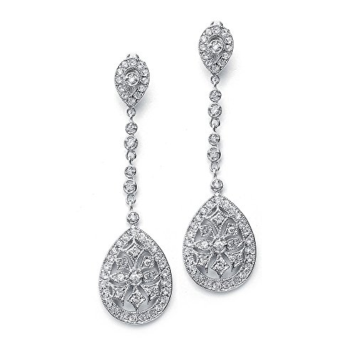 Mariell Art Deco Vintage CZ Wedding Earrings - Glamorous Gatsby-Style Dangle Chandeliers for Brides -