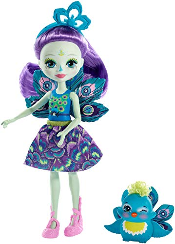 Enchantimals Patter Peacock y Flap, muñeca con mascota (Mattel FXM74)