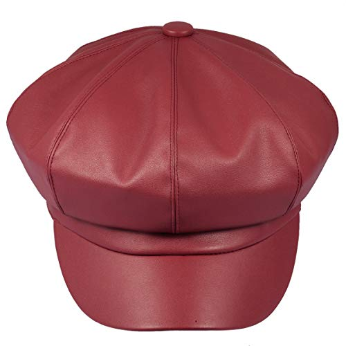 Samtree Women Newsboy Hats, Visor Beret Cabbie Hat 8 Panel Ivy Cap PU Leather (Red)