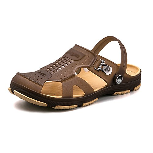 Men's Shoes Feifei Summer Baotou Hasp New Style Beach Non-Slip Wear-Resistant Home Sandals Brown