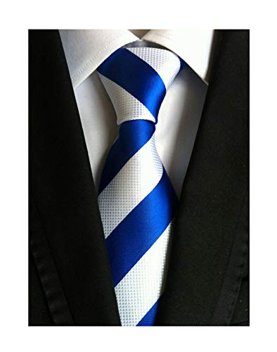 Elfeves Men's Wide Stripe Blue and White Jacquard Woven Silk Tie Formal - Silk And Tall Big Tie