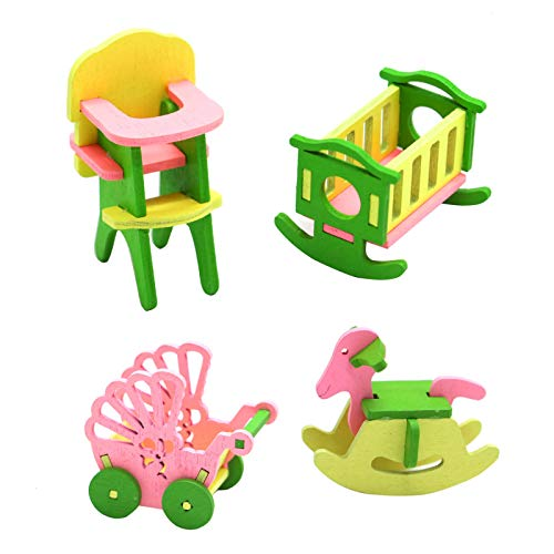AQUEENLY Wooden Dollhouse Nursery Furniture Baby Room Set, Strollers & Rocking Horse & Crib & Dining Chair 4 Pieces -