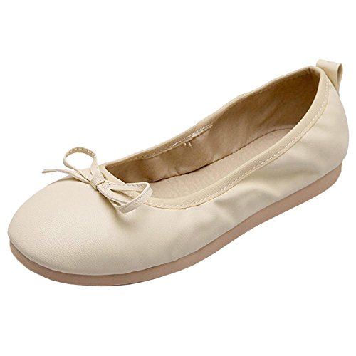 Ballet Para Beige Mujer Plano Zapatos Tacon RAZAMAZA de 1wIXnv