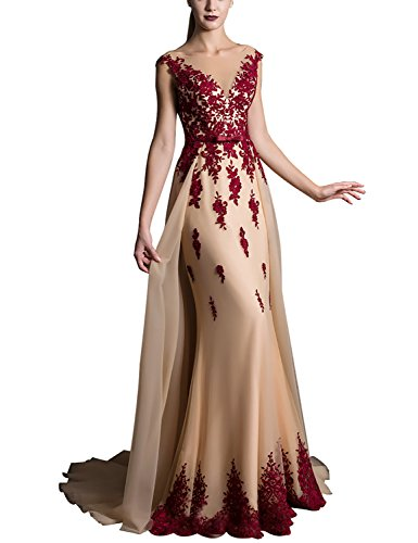 Long Lace Appliqued Prom Dresses Plus Size Evening Gown With Sweep Train Empire Waist With Sash Bow V Neck Cocktail Dresses 2018 Formal Celebrity EV429 Burgundy Champagne Size (Empire Waist Sash)