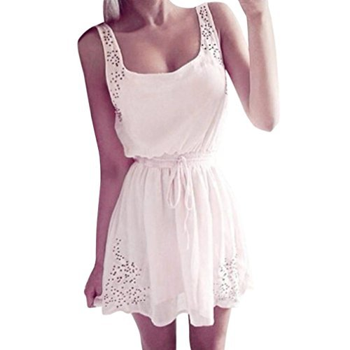 AmyDong Ladies Dress Sexy Summer Women Casual Dresses Sleeveless Cocktail Short Mini Dress Belted Belt Strap Skirt (S, White) (Lace Belt Belted)