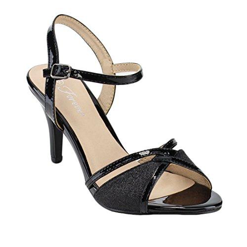 Forever Villa-04 Women's Glitter Metallic Ankle Strap Buckle Wrapped Heel Sandals,Black,7.5