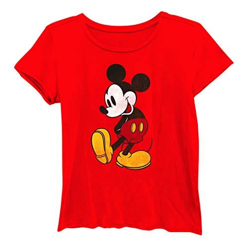 - Disney Ladies Mickey Mouse Fashion Shirt - Ladies Classic Mickey Mouse Clothing Mickey Mouse Washed Short Sleeve Tee (Washed Red, Medium)