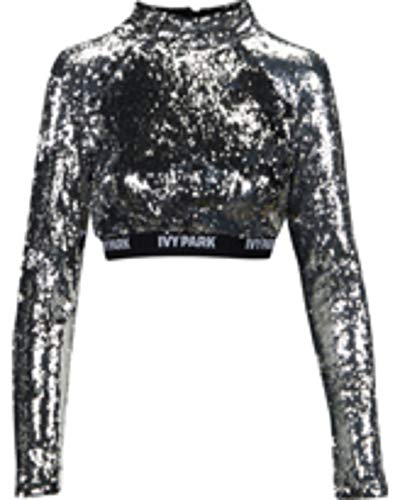 Ivy Park Sequined Cropped Top-Size XS Silver
