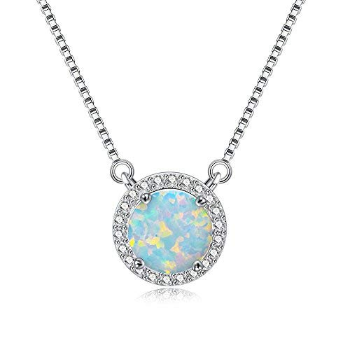 Wemeet Round Opal Necklace for Women, 18K White Gold Plated Cubic Zircon Diamond Halo Choker Necklace