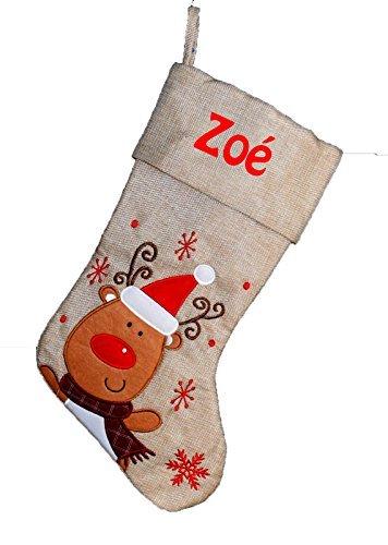 Chaussette de Noël à Personnaliser Toile de Jute Motif Renne Botte de Noël Personnalisé