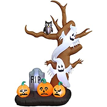 9 foot tall halloween inflatable tree with ghosts pumpkins owl and tombstone decoration