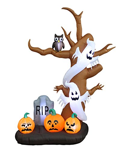 9 Foot Tall Halloween Inflatable Tree with Ghosts, Pumpkins, Owl and Tombstone LED Lights Decor Outdoor Indoor Holiday Decorations, Blow up Lighted Yard Decor, Lawn Inflatables Home Family -