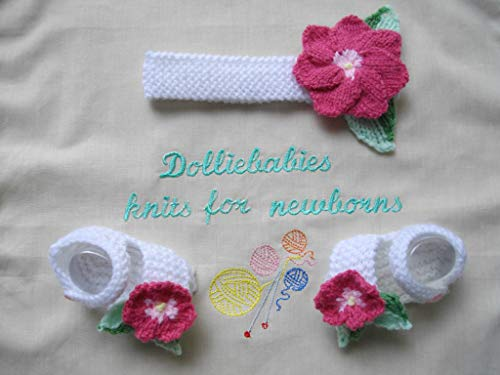 DollieBabies Knitting Pattern 37 - Baby Headband and Sandals with Knitted Flowers