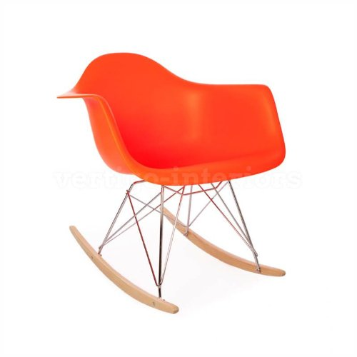 review high quality eames style rar rocking arm lounge chair orange
