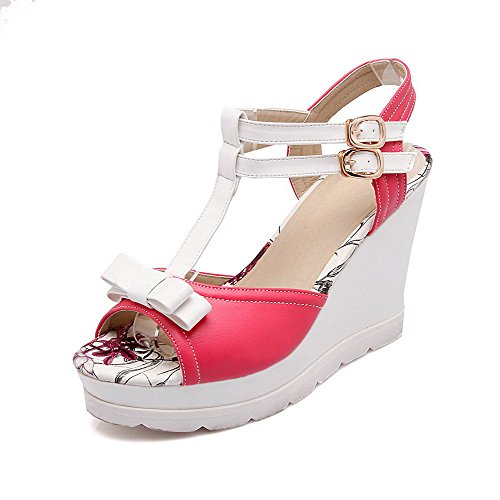 AllhqFashion Womens Soft Material Buckle Open Toe High-Heels Assorted Colors Sandals Red MxqTN9XRRh