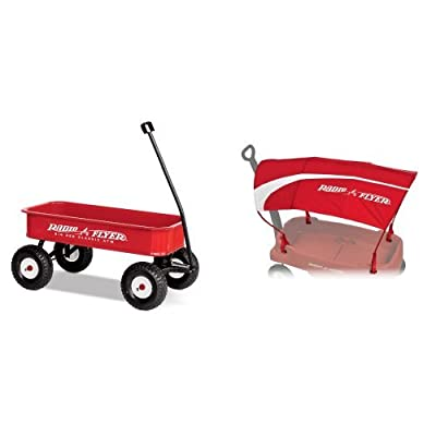 Radio Flyer Big Red Classic ATW with Wagon Canopy Bundle: Toys & Games