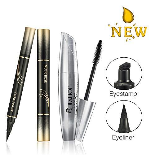 4D Silk Fiber Lash Mascara with Winged Eyeliner Stamp, Vogue Vamp Style Wing Cat Eye Look Effects with Dense Eyelashes, Waterproof & Long Lasting (Black)