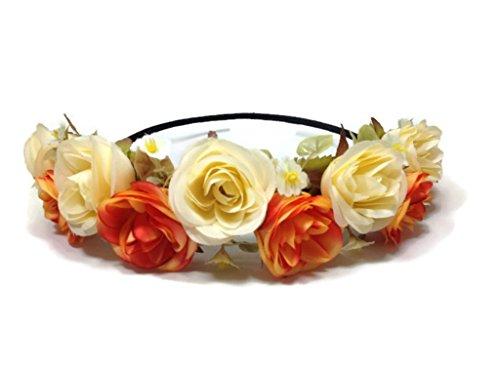 Rose Flower Crown Circlet Tiara Handmade Headband:A1 (Orange)