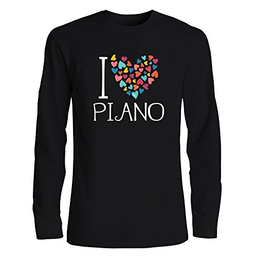 Idakoos I Love Piano Colorful Hearts Musical Instrument Long Sleeve T-Shirt