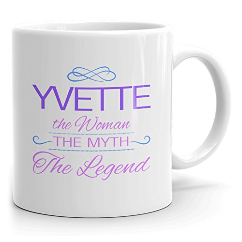 Yvette Coffee Mugs - The Woman The Myth The Legend - Best Gifts for Women - 11oz White Mug - Purple