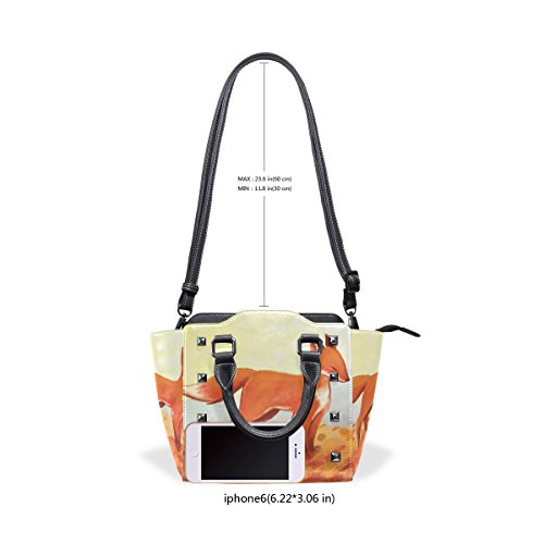 Handle Bag Painting The Shoulder Bag Pu Bag Tote Coosun Women Medium Leather Top Crossbody Fox Multicolor qSz4xwEX